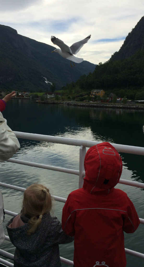 Norrow Fjord Ferry leaving Flam in Norway with kids on board.