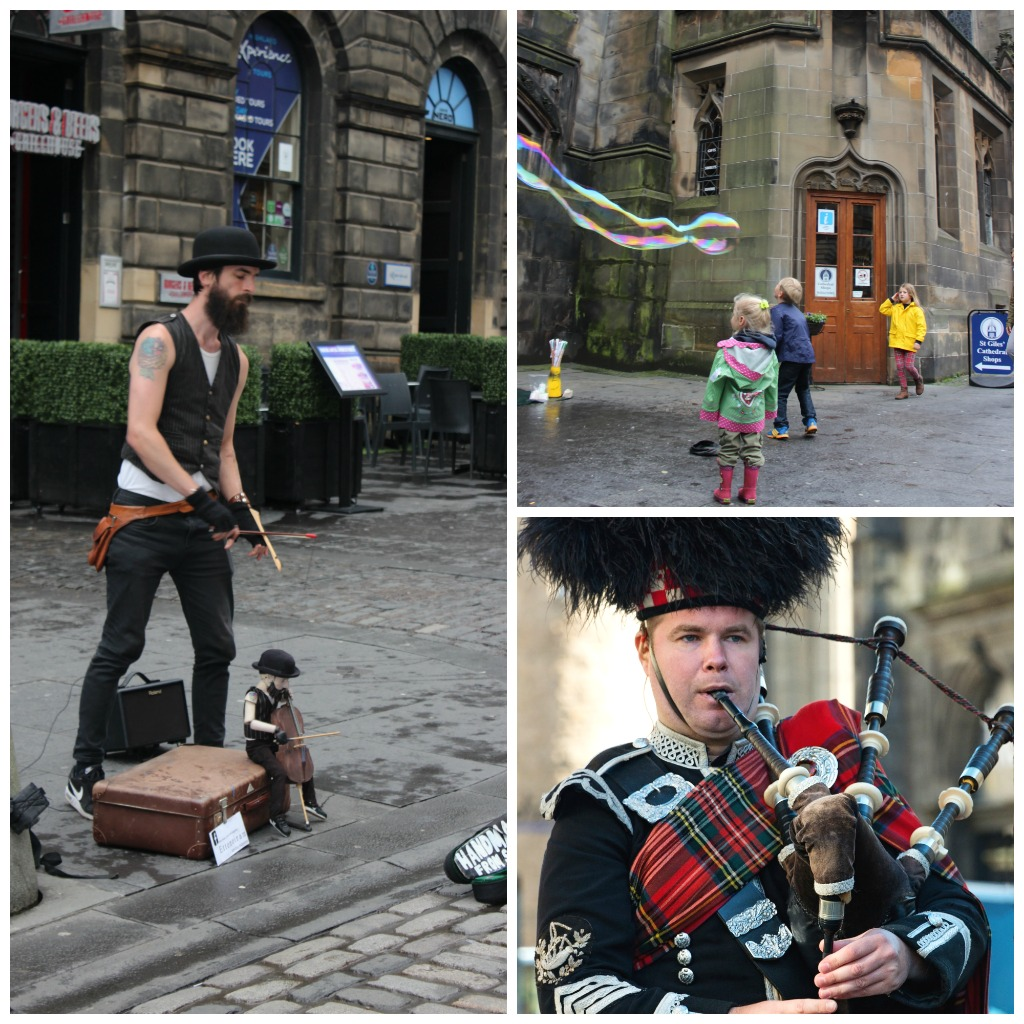 A puppeteer, children chasing bubbles and a bag pipe player all busk along the royal mile Edinburgh in 1-day with kids