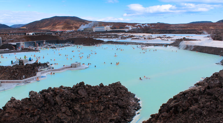 Visit the blue lagoon in Iceland with your baby, toddler or child.