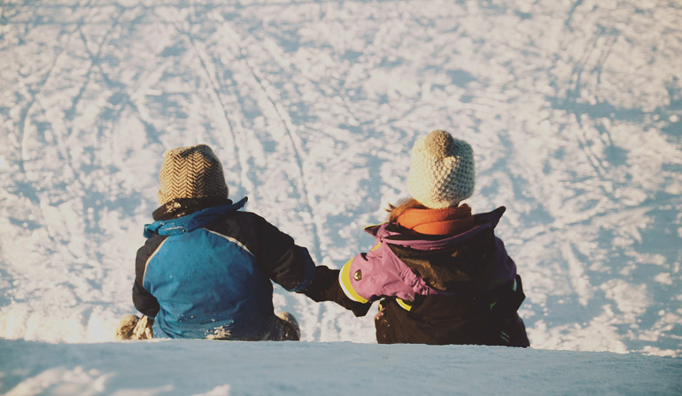 Sledding the is one of the best Winter activities for kids