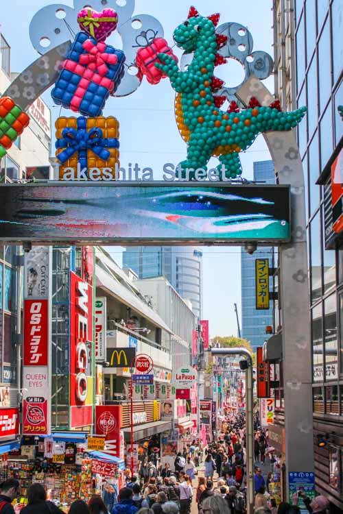 Takeshita shopping street. Tokyo Family Trip Blog post.