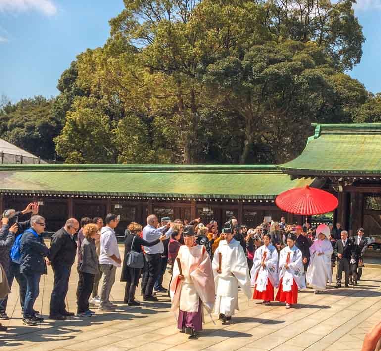 Wedding Procession at Meiji Shrine. Tokyo Family trip.
