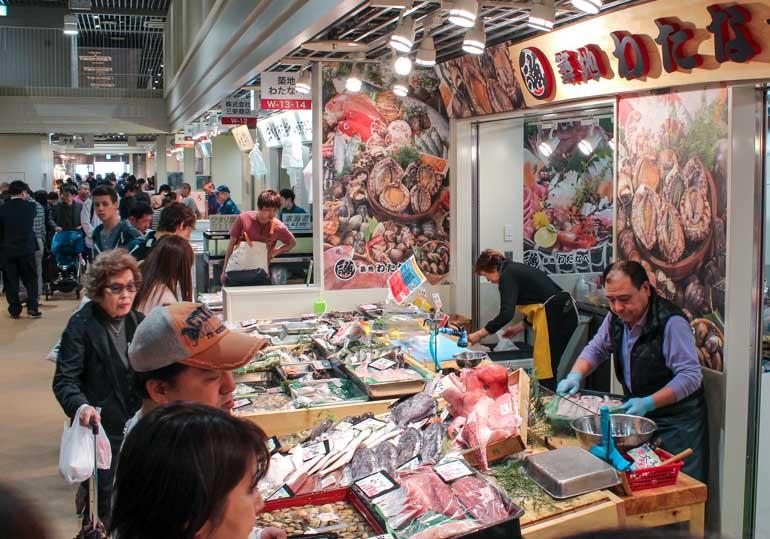 Tsukiji Fish Market. Inner Market with children.