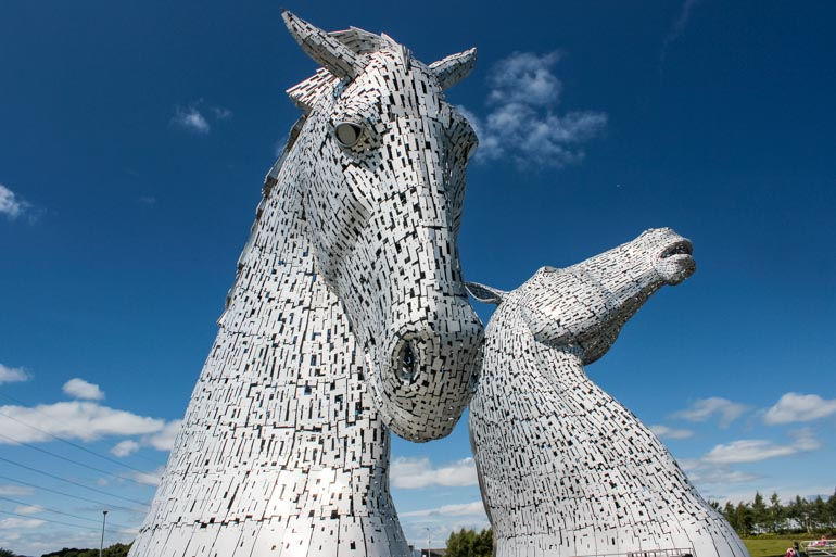 Viewing the Kelpies on Scotland Road trip itinerary