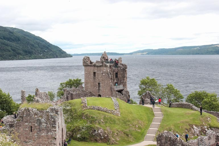 View over Urquhart Castle and Loch Ness