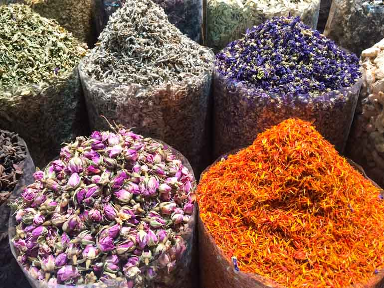 Fragrant spices at the souks in Dubai Creek