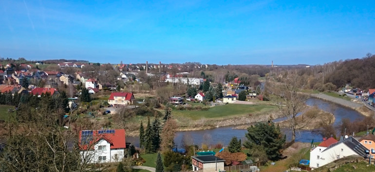 View from Colditz Castle to surrounding area in Saxony, Germany