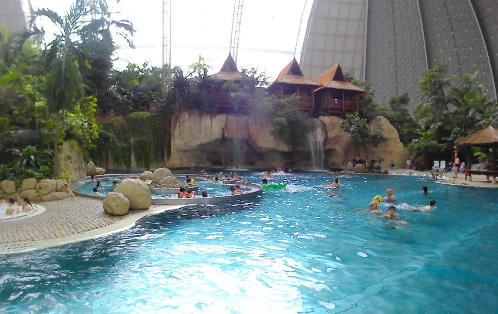 Lagoon area in Tropical Islands, the heated indoor water park near Berlin and Dresden.