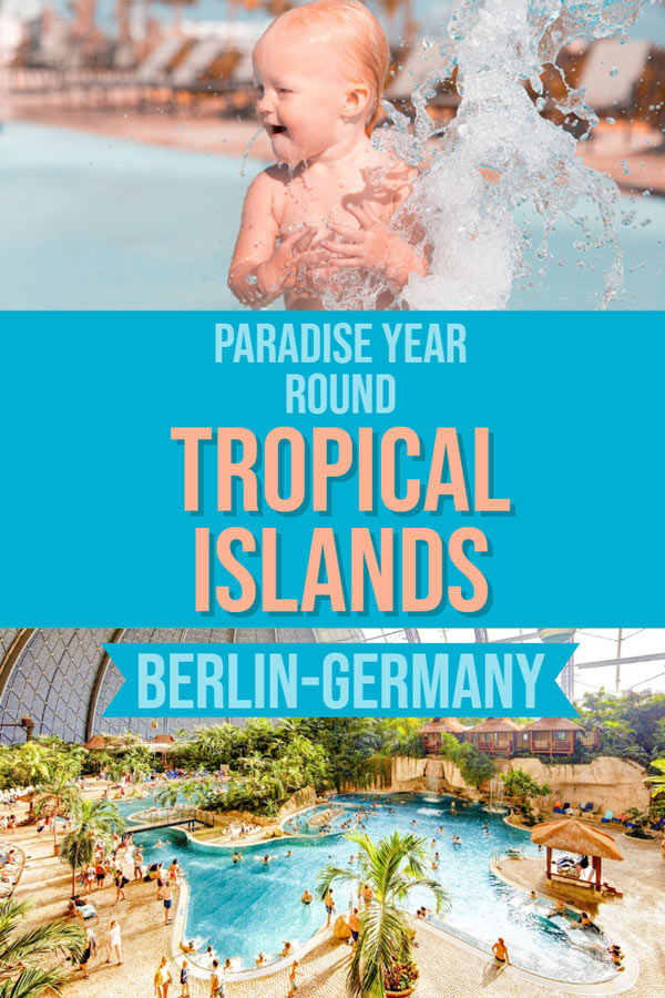 Tropical Islands near Berlin is an amazing water park where it is summer year round.  The tropical paradise is house is an old air ship hangar, the largest uninterrupted space in the world! Sand, rain forest, tropical birds, indoor balloon rides, pools and water slides. It has to be experienced to be believed. Check out the post to learn more and add it to your Germany or Europe itinerary. #familytravel #wintersun #Travel #Europe #TravelInspiration #wanderlust