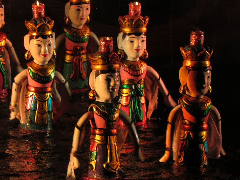 Water puppet theatre is a fun thing to do with kids in Hanoi Vietnam.