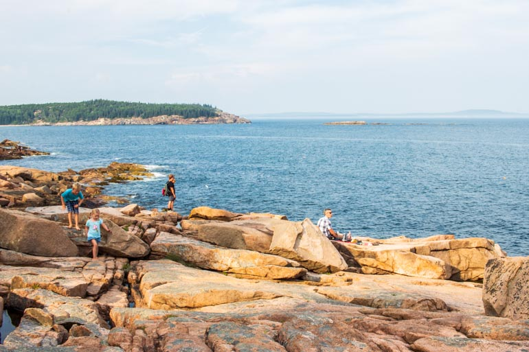 Ocean Path walk with kids in Acadia National Park