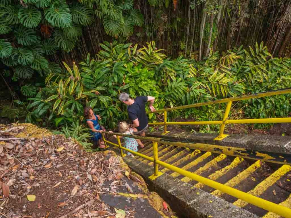 Visiting the Lava Tubes in Volcanoes National Park with kids