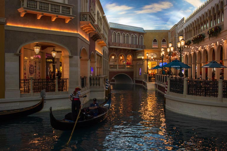 The canals and gondolas in the Venetian resort, Las Vegas make it a fun place to take kids.