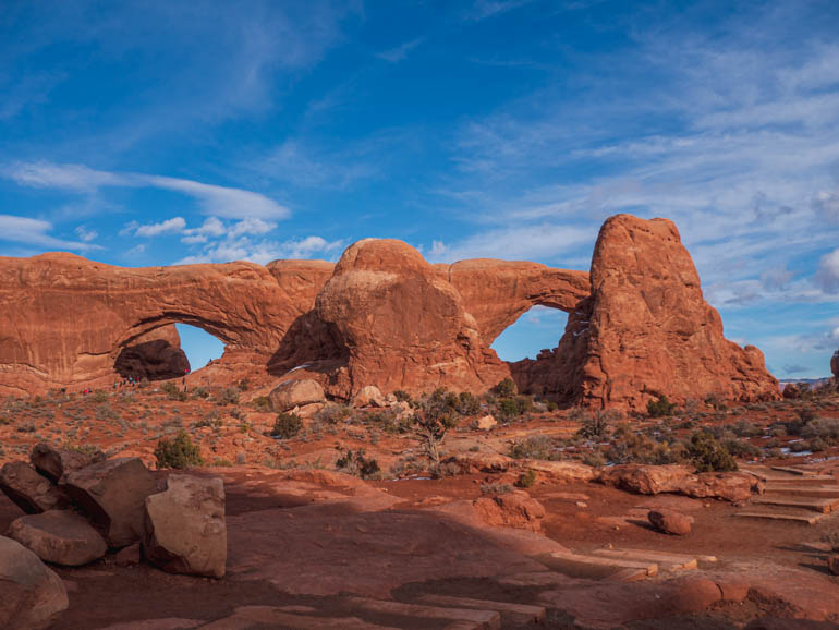 Windows arches near Moab in winter, Arches National park