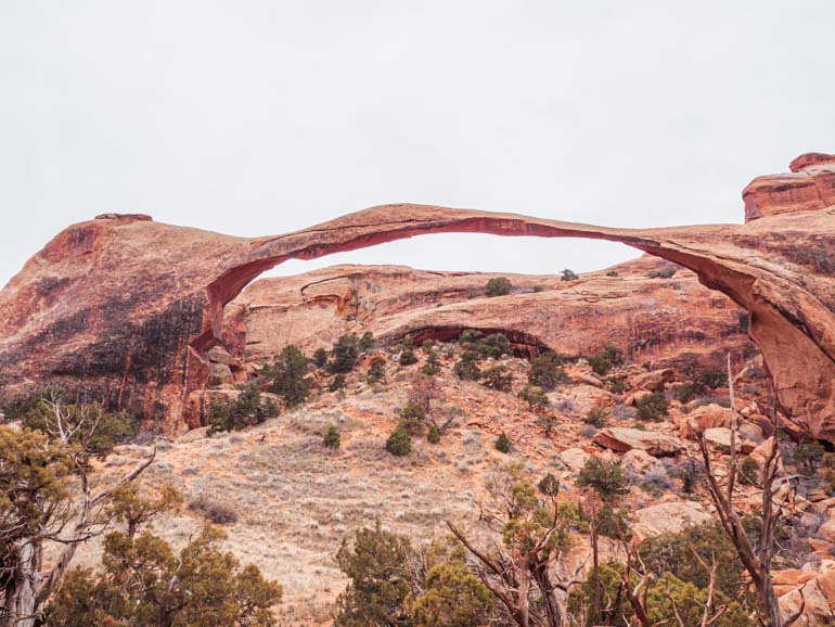 Landscape Arch in Winter, near Moab in Utah, USA National Parks