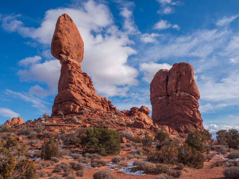 Balanced rock with the winter sky behind in Arches National Park near Moab, Utah
